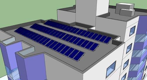Prédio com placas fotovoltaicas
