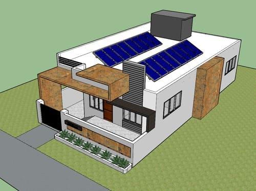 Casa com placas fotovoltaicas